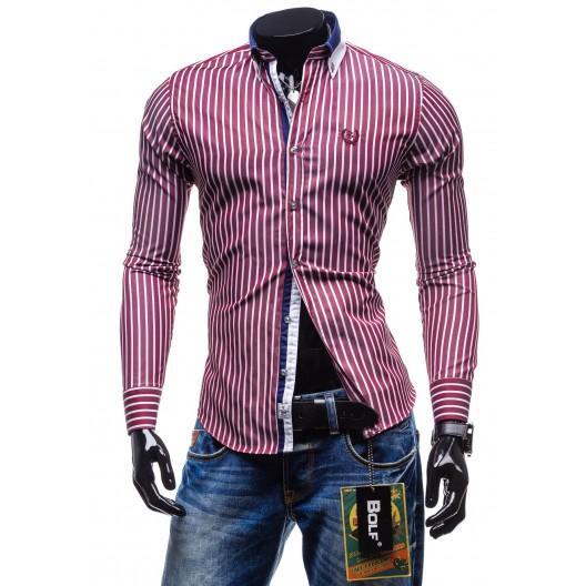 Pánska košeľa obleková bordovej farby