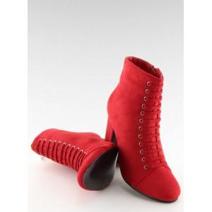 Červená dámska členková obuv s viazaním