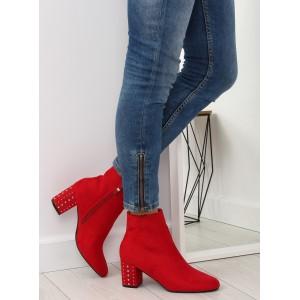 Semišové červené dámske topánky s vybíjaným podpätkom
