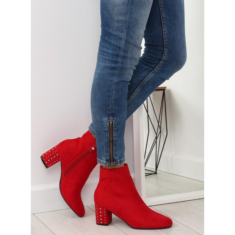 3d6ea4801bb2 Semišové červené dámske topánky s vybíjaným podpätkom