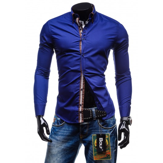 Značkové a lacné pánske košele s dlhým rukávom modrá