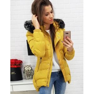 Dámska žltá bunda na zimu s kožušinovou kapucňou a ozdobnými cvokmi