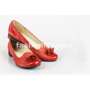 Dámske kožené balerínky červené DT026