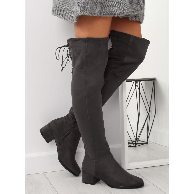 de3c1be86913 Štýlové dámske zimné čižmy nad kolená na módnom hrubom opätku
