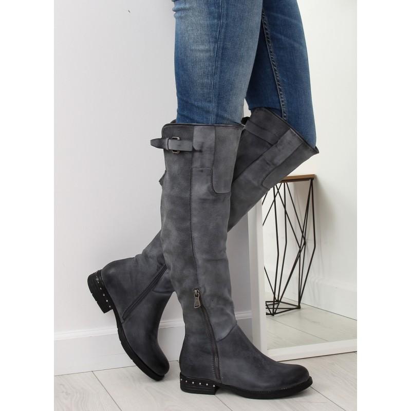 8a152dc7d Exkluzívne sivé dámske čižmy nad kolená na nízkom vybíjanom opätku
