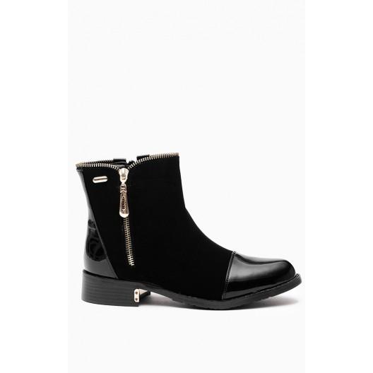 Dámske semišové lakované topánky čierne