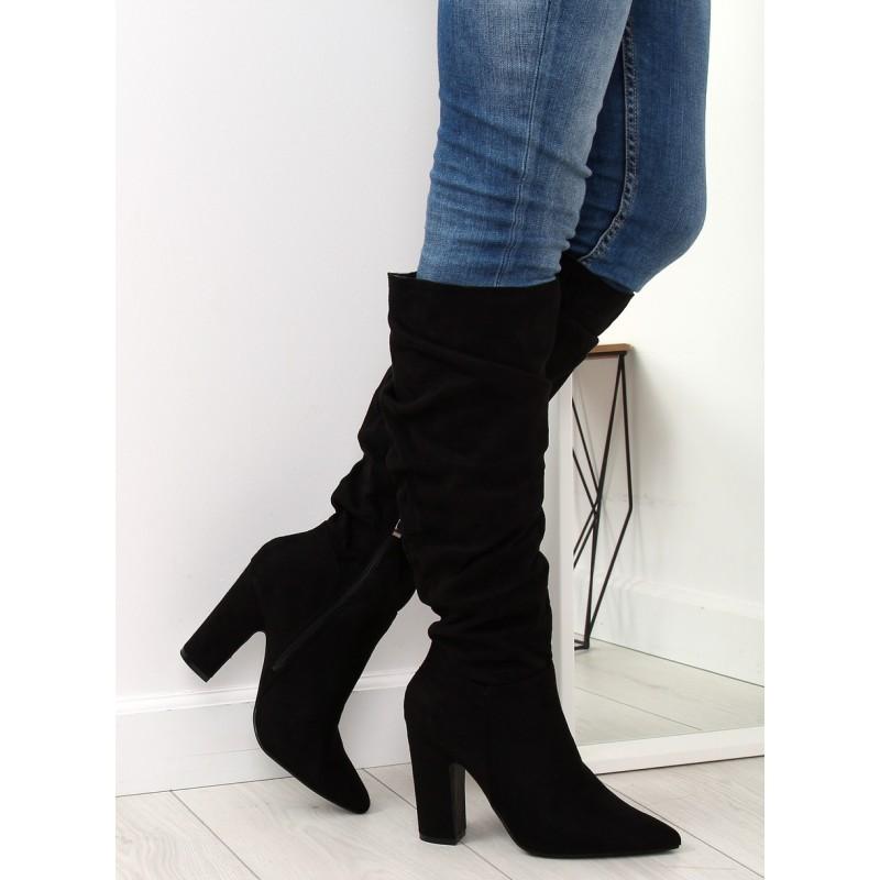 d397729ed Čierne dámske čižmy pod kolená s módnou ostrou špičkou a opätkom