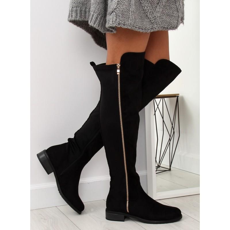 Módne čierne dámske čižmy nad kolená s ozdobným zlatým zipsom 510a7bffc65