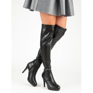 7e3b445b4 Sexi dámske čierne čižmy nad kolená na vysokom opätku