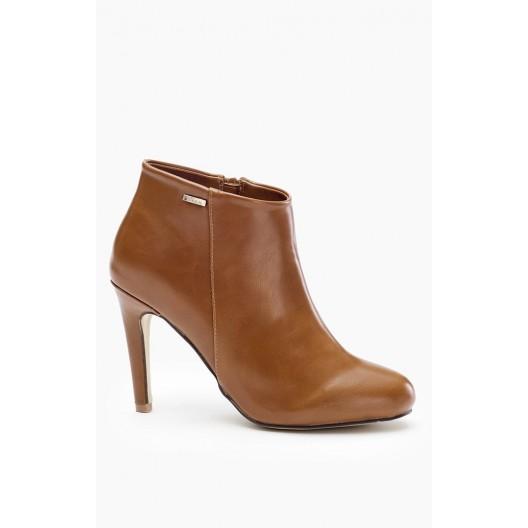 Dámske topánky na vysokom opätku hnedé