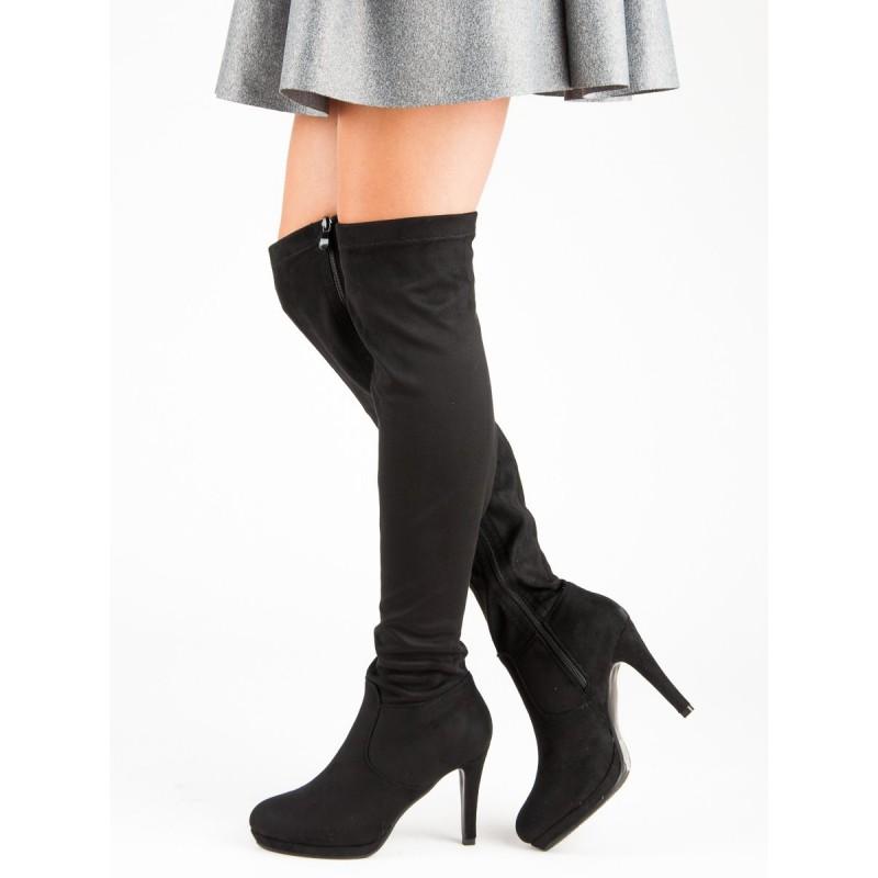 1983f6c04f7d Čierne dámske semišové čižmy nad kolená na vysokom opätku