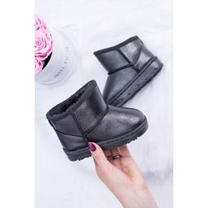 Lesklé čierne detské zateplené snehule s kožuštekom