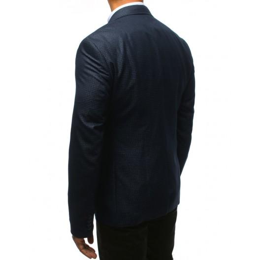 Športové vzorované pánske modré sako