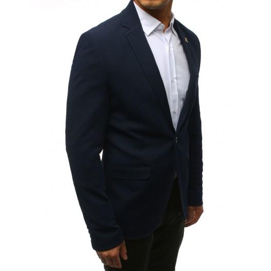 Pánske sako v modrej farbe s vreckom na prsiach