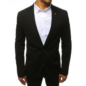 Pánske slim fit sako v čiernej farbe so zapínaním na gombíky