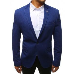 Štýlové pánske sako s vreckami v modrej farbe