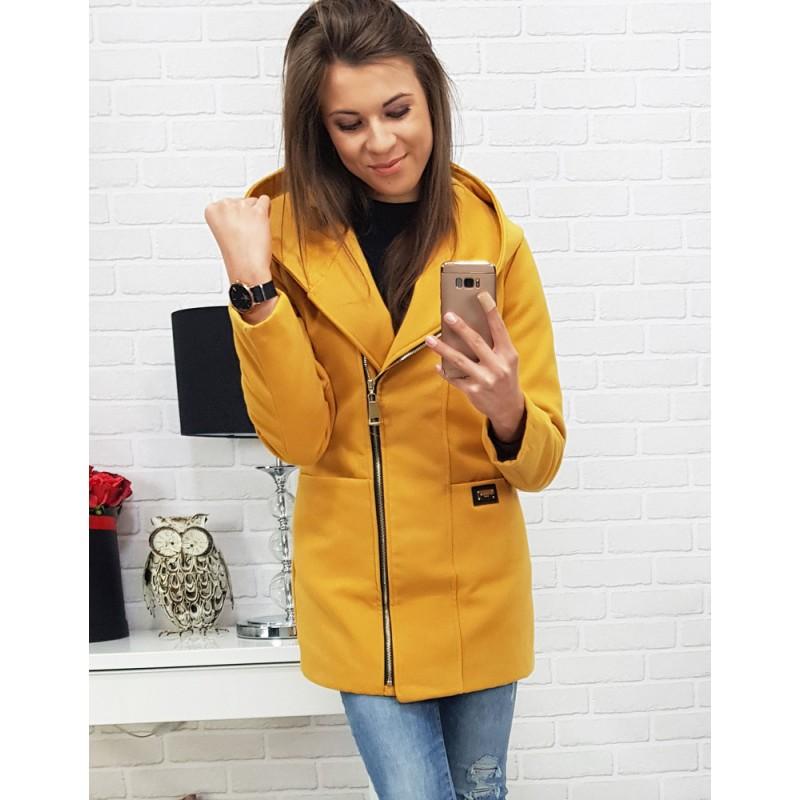 37d72f7ce91a Žltý dámsky kabát s trendy zapínaním na zips a kapucňou