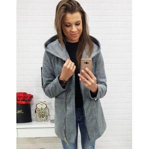 Jesenný sivý dámsky krátky kabát s trendy kapucňou