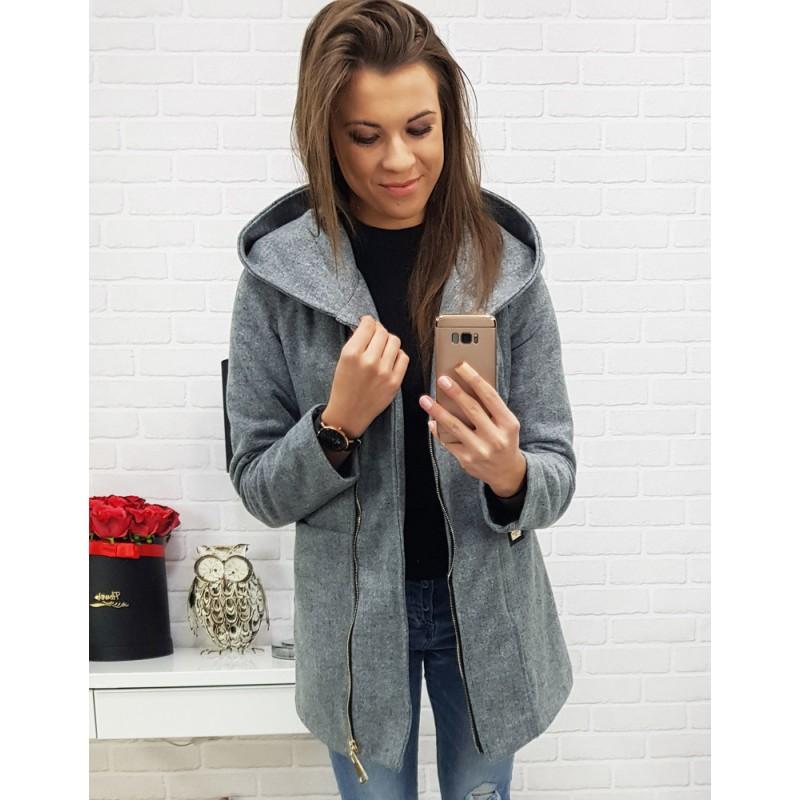 Jesenný sivý dámsky krátky kabát s trendy kapucňou f21ab6711a3