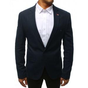 Moderné pánske sako v modrej farbe so zapínaním na gombíky