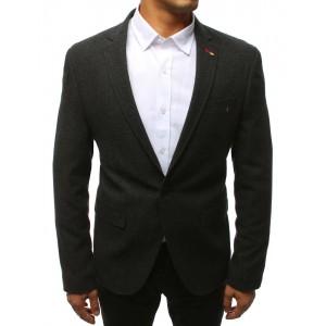 Pánske sako v čiernej farbe so zapínaním na gombíky