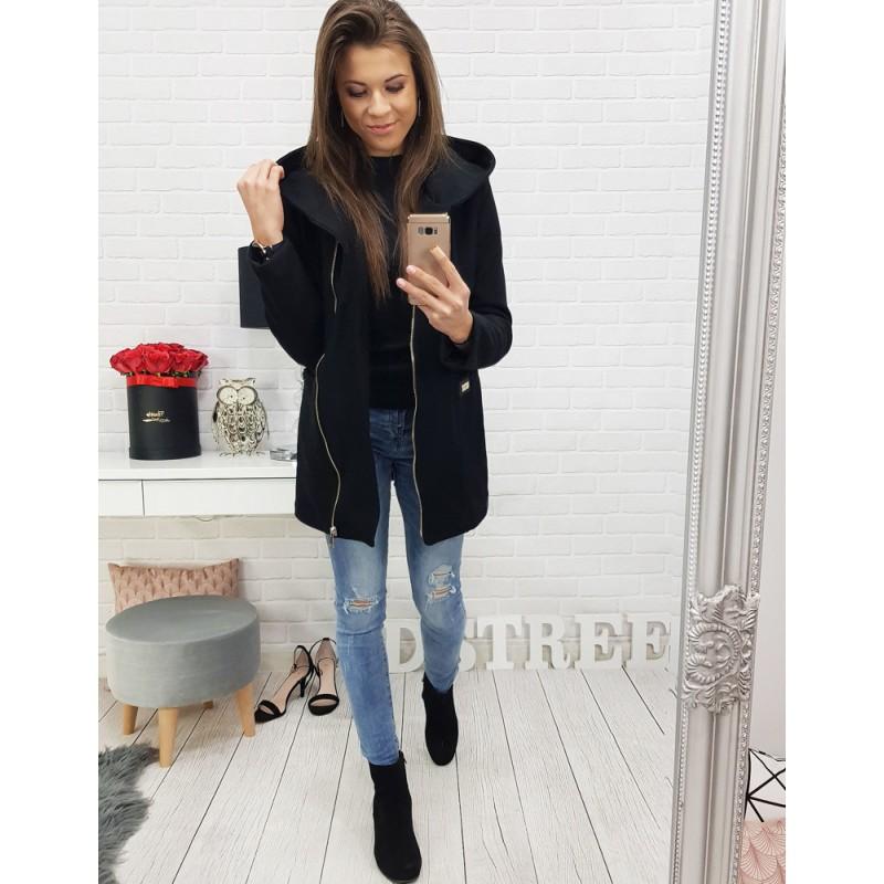 Trendy čierny dámsky kabát na zips s módnou kapucňou 9da2cdf4ab5