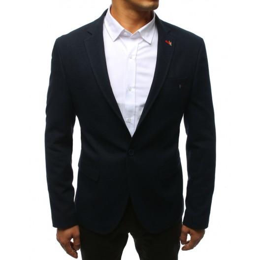 Slim pánske sako v modrej farbe s vreckami