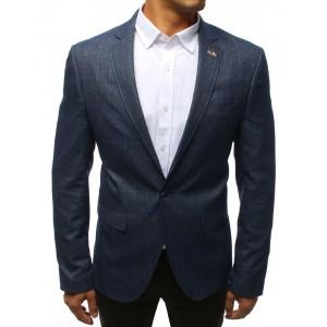 Pánske slim sako v modrej farbe so vzorom štvorcov