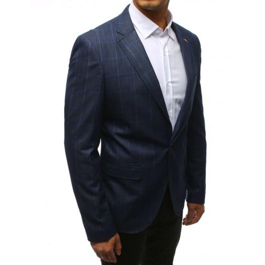 Vzorované pánske štýlové sako v modrej farbe
