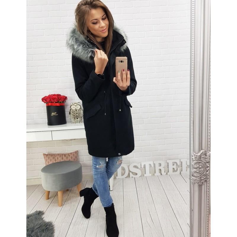ae4e795aa2 Dlhý čierny dámsky kabát so sťahovaním v páse a kapucňou