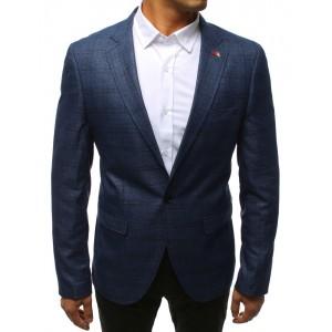 Športové vzorované pánske sako v modrej farbe