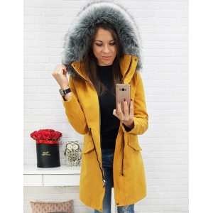 Dámsky žltý kabát na zimu s odnímateľnou kapucňou a zapínaním na zips