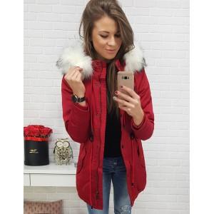 Štýlová dámska zimná bunda s kožušinou v červenej farbe