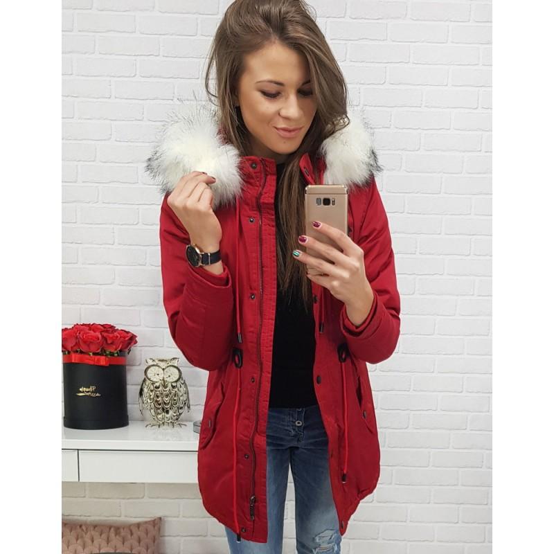 73221da5c Štýlová dámska zimná bunda s kožušinou v červenej farbe