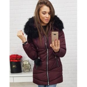 Dámska prešívaná bunda na zimu v bordovej farbe