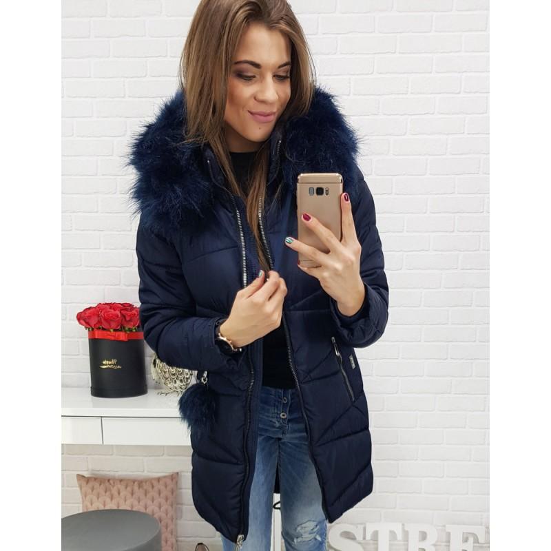 Dámska predĺžená zimná bunda na zimu tmavomodrá 28c43917320
