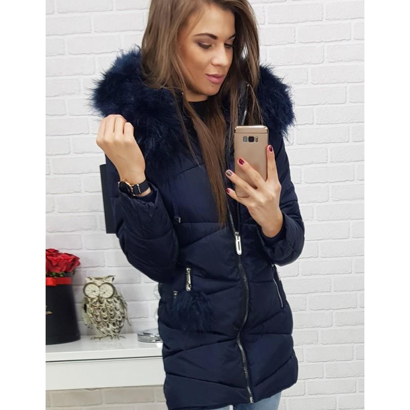 1cb143ea1 Dámska predĺžená zimná bunda na zimu tmavomodrá
