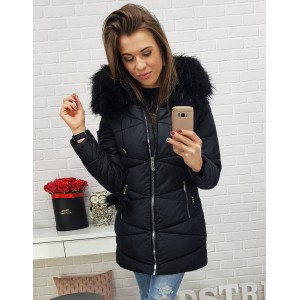 Dámska predĺžená čierna zimná bunda