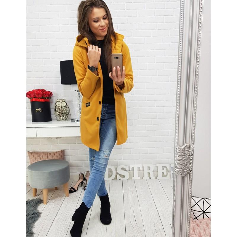 Trendy žltý dámsky kabát rovného strihu s odnímateľnou kapucňou 7cd3261f9c9