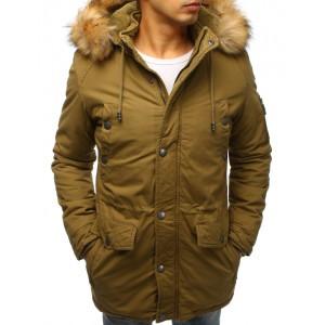 Pánska zimná bunda v khaki farbe s bohatou kožušinovou kapucňou