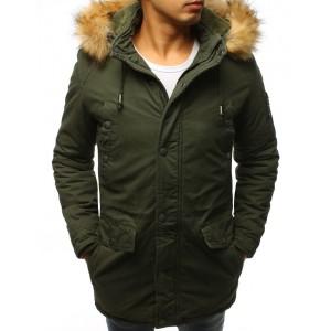 Štýlová zelená pánska bunda na zimu so sťahovaním v páse a kapucňou