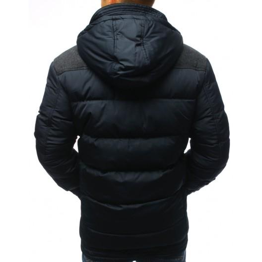 Pánska tmavo-modrá zimná bunda s kapucňou a módnym zapínaním