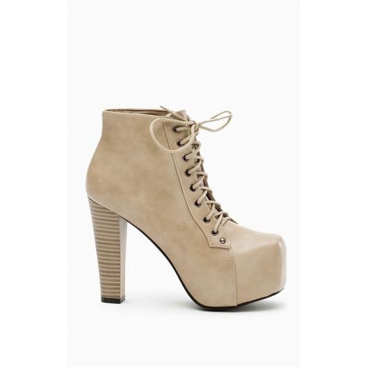 Dámske kotníkové topánky na vysokom opätku béžovej farby