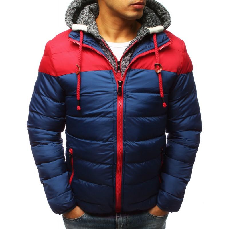 Dvojfarebná červeno-modrá pánska zimná bunda so vsadenou kapucňou 4377a555d0b