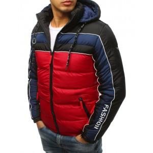 Červená krátka zimná pánska bunda s trendy farebným dizajnom