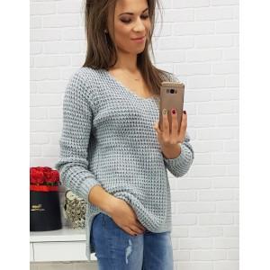 Dámsky pletený sveter sivej farby s výstrihom do V