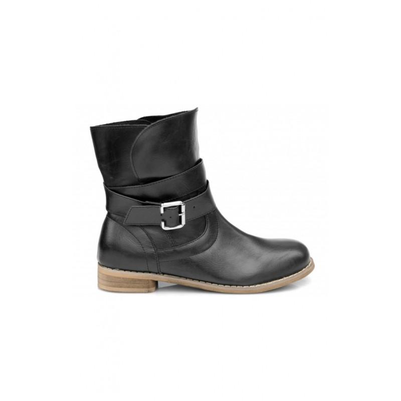 Dámske členkové čižmy čiernej farby s prackou - fashionday.eu 17945956cc5