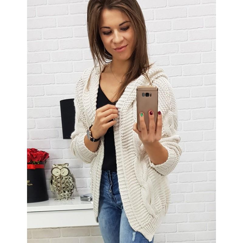fb21c5803222 Dámsky biely pletený sveter s kapucňou a trendy osmičkovým vzorom