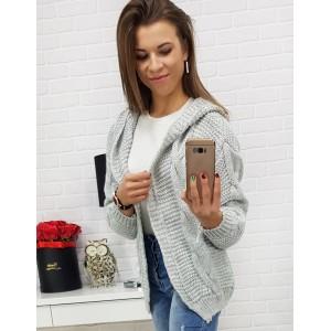 Ležérny dámsky sveter pre dámy v sivej farbe bez zapínania a s kapucňou