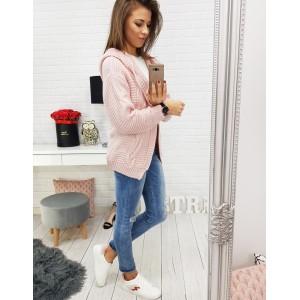 Romantický ružový dámsky sveter s predĺženým strihom a kapucňou